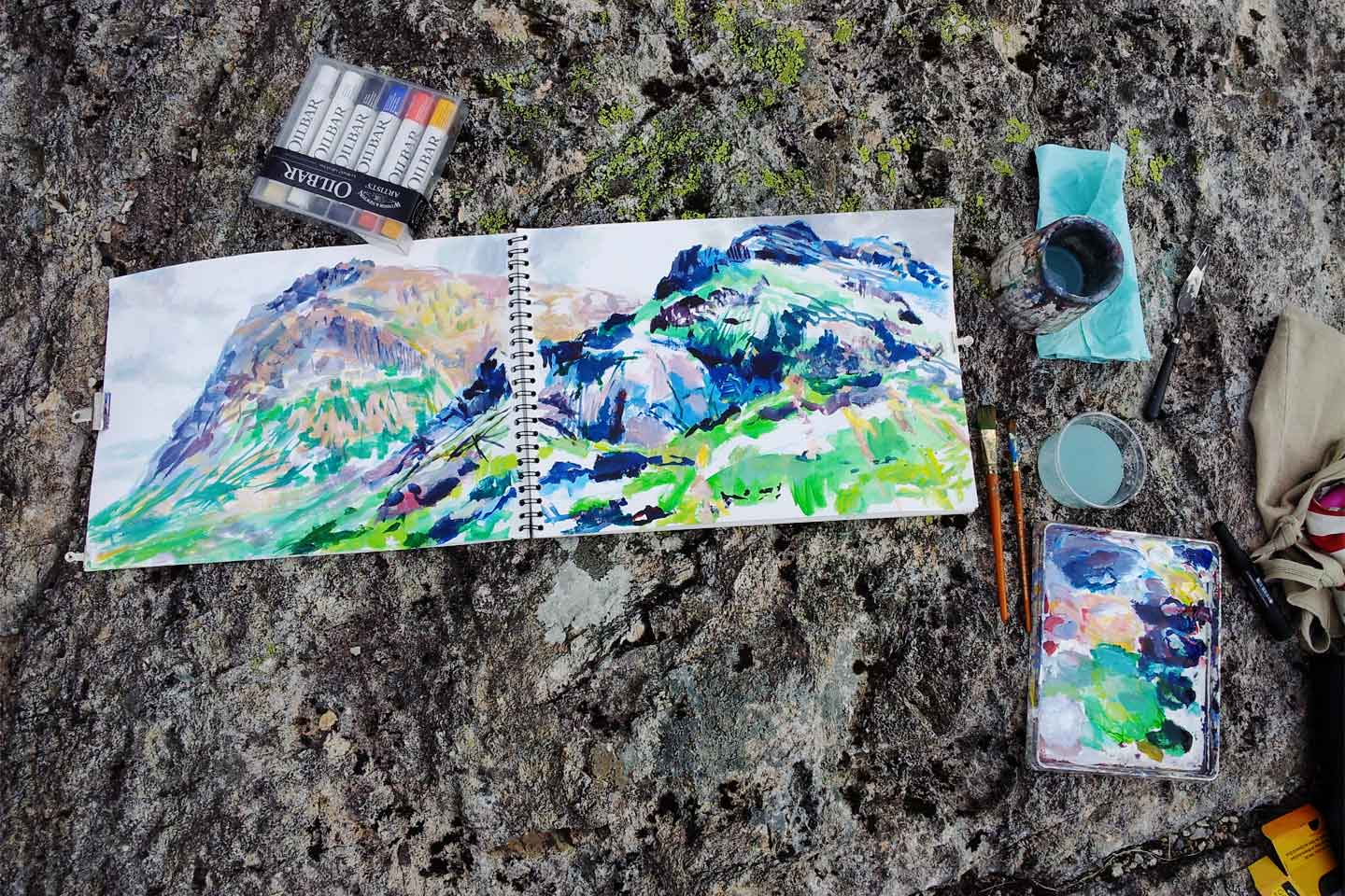 Working outside with acrylics in Glencoe