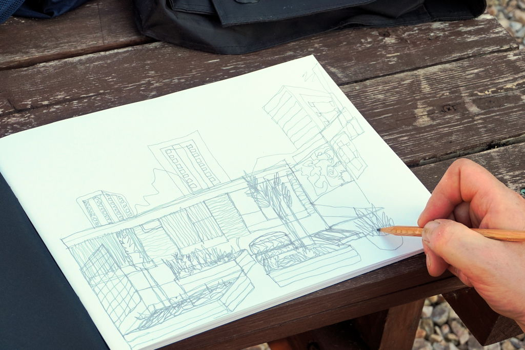 Sketching with graphite, Maryhill Hub courtyard
