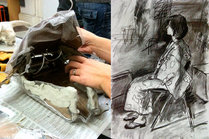 Example of sculptural work by student and figure drawing by tutor