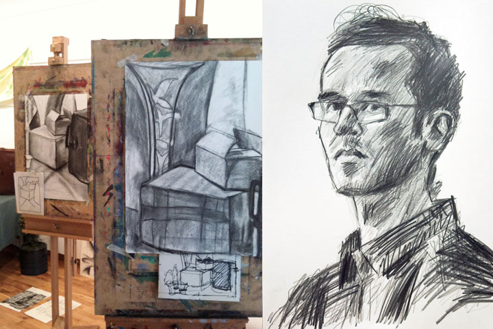 Example works by students and graphite portrait by tutor