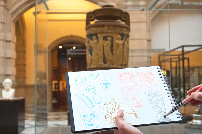 Drawing group - inside the Kelvingrove Art Gallery and Museum